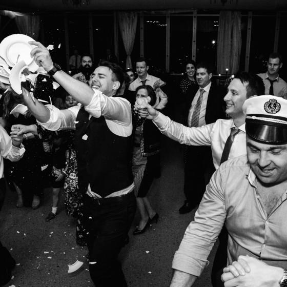 Reception, greek wedding, canberra wedding photographer, bowral wedding photographer, plate smash, wedding, reception, party, black and white
