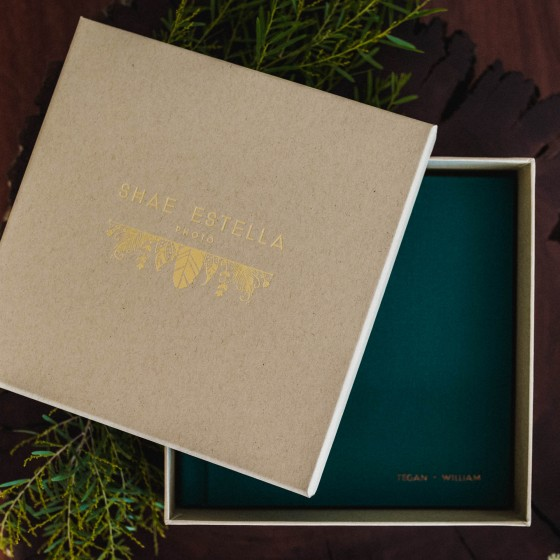 Designer flatlay wedding albums by Sunshine Coast Wedding Photographer Shae Estella Photo