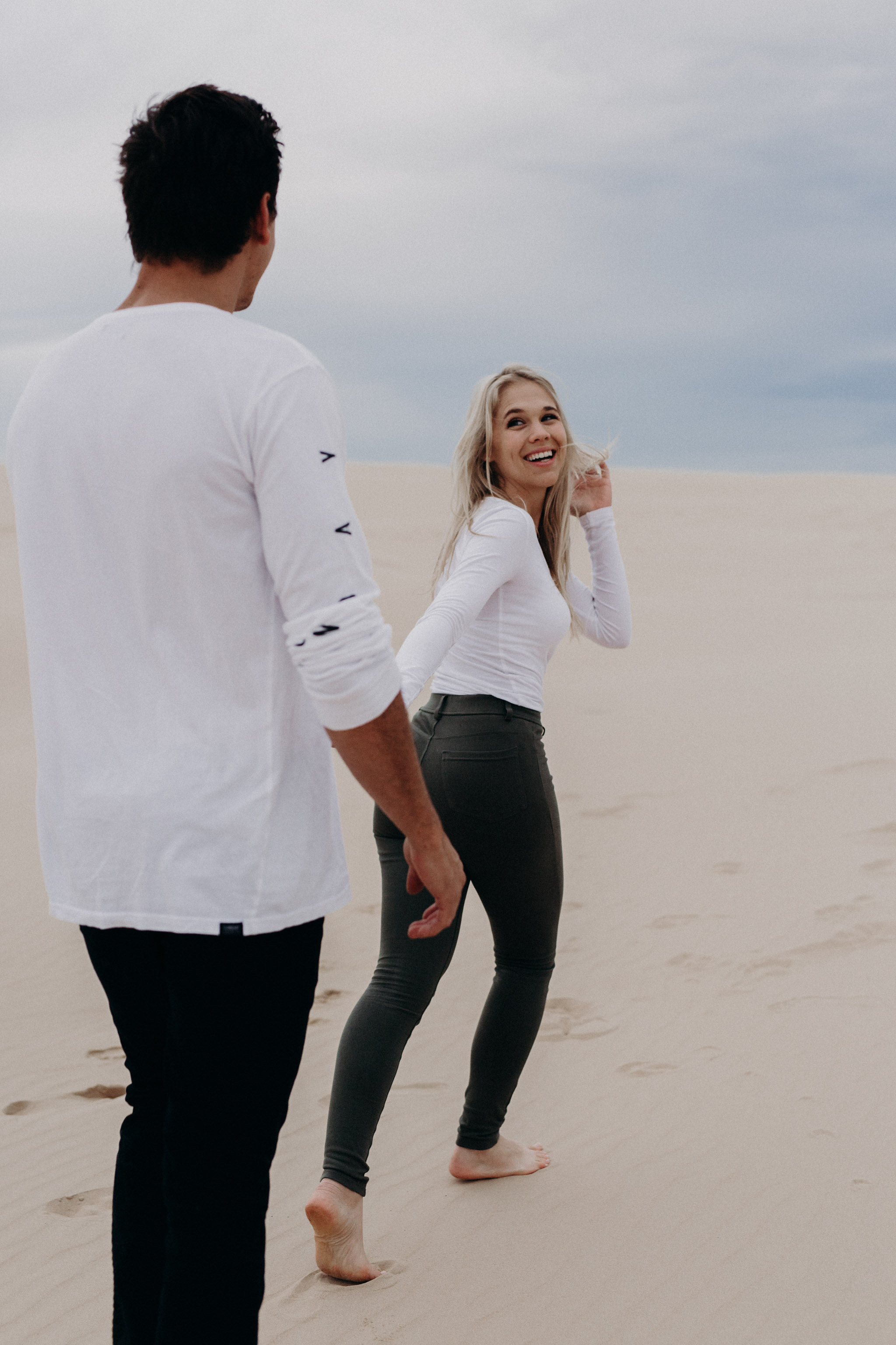 Stockton Dunes, Newcastle engagement session, canberra wedding photographer, bowral wedding photographer, southern highlands, engagement session, boho, natural, candid