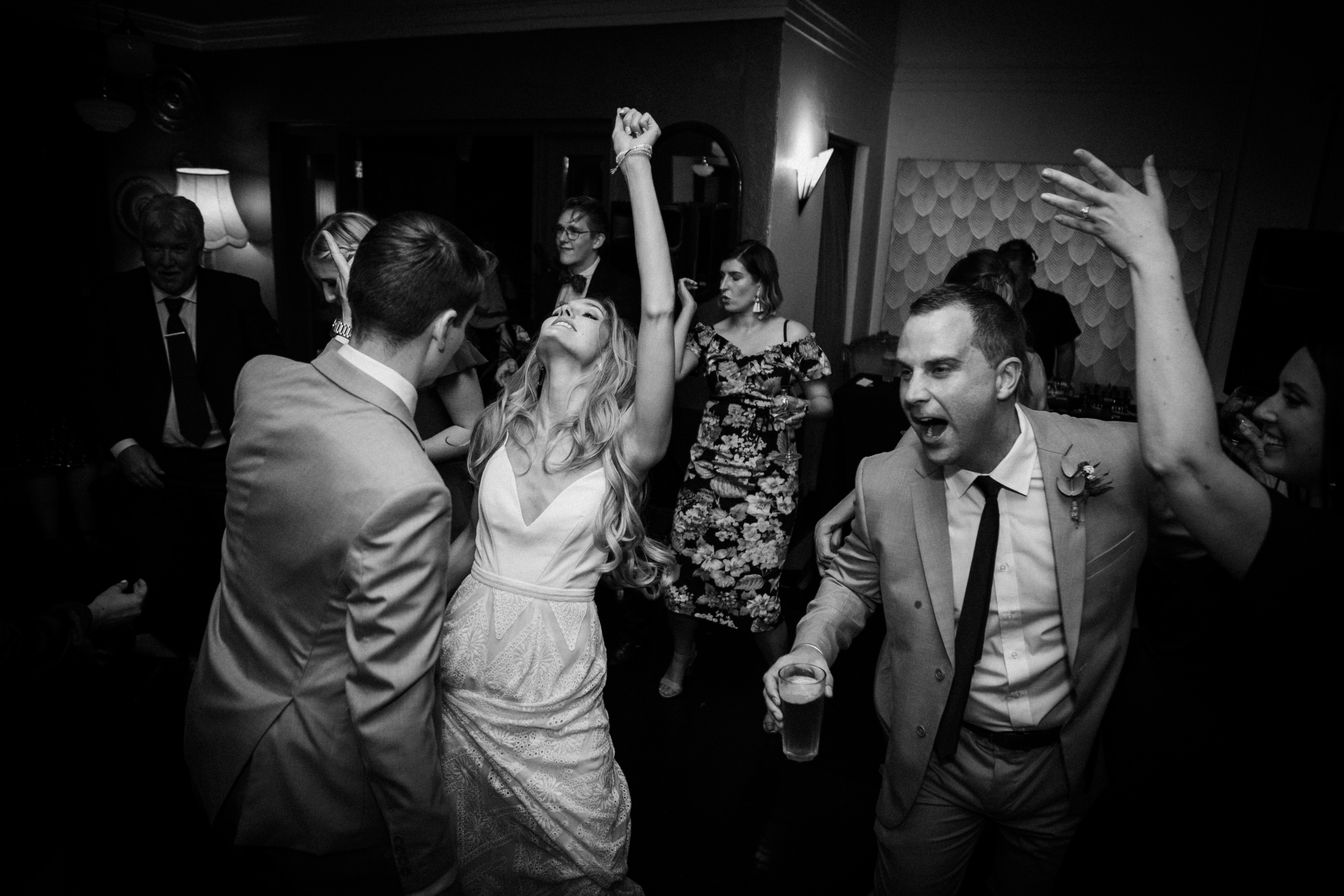 Bride, Groom, Reception, New Acton, Parlor Wineroom, dancing, black and white