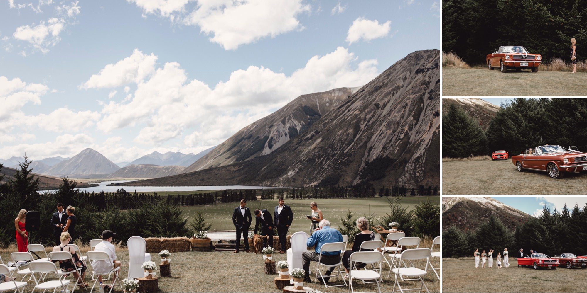 Wedding ceremony on mountain at Flockhill Station, new zealand photographed by sunshine coast wedding photographer