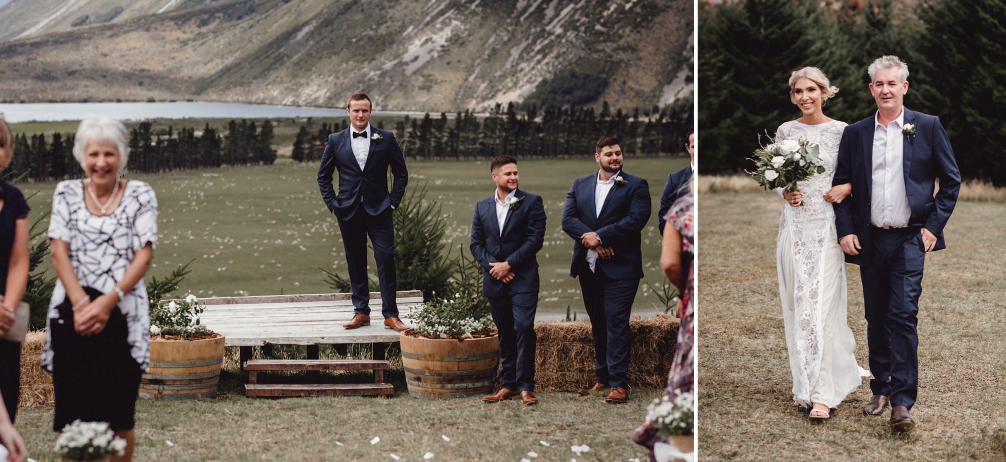 Wedding ceremony on mountain at Flockhill Station, new zealand photographed by sunshine coast wedding photographer